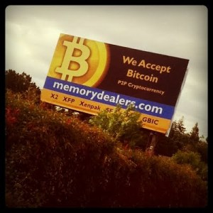 Roger Ver's bitcoin billboard in the Silicon Valley